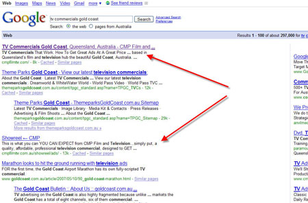 "#1 for ""TV Commercials Gold Coast"" in Google"