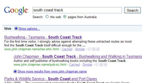 Searching for the South Coast Track