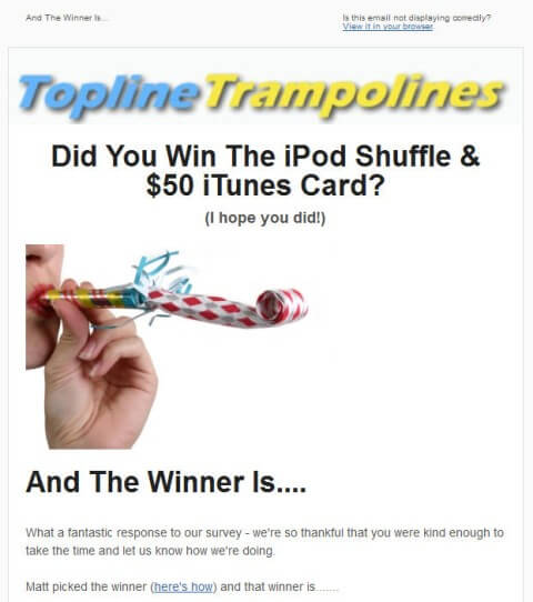 Winner Announcement Email Example