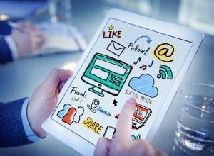 Working Digital Tablet Global Comunications Social Media Concept