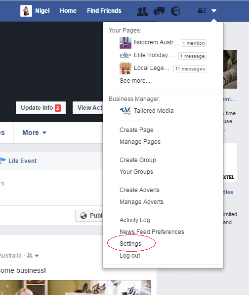 how to get to page settings on facebook