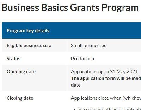 Business Basics Grants Program